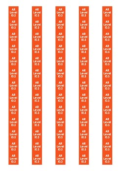 Accelerated Reader Level Spine Labels: Level 10.3 - Avery A4 L7651