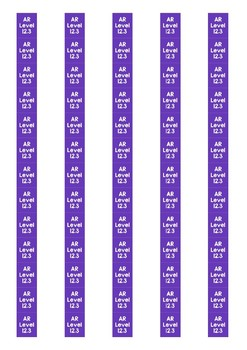 Accelerated Reader Level Spine Labels: Level 12.3 - Avery A4 L7651
