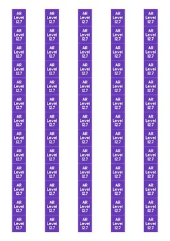 Accelerated Reader Level Spine Labels: Level 12.7 - Avery A4 L7651