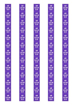 Accelerated Reader Level Spine Labels: Level 12.8 - Avery A4 L7651