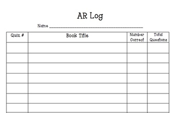 Accelerated Reader Log (AR Llog)