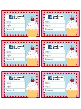 Accelerated Reader Log In Cards-Cupcakes
