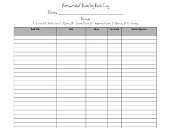 Accelerated Reader Book Log Management Sheets