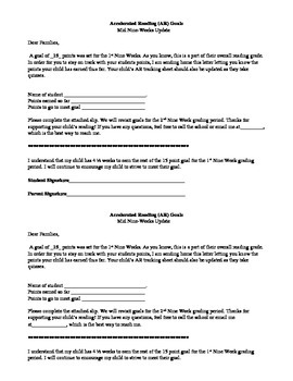 Accelerated Reader Mid-Way Goal Letter