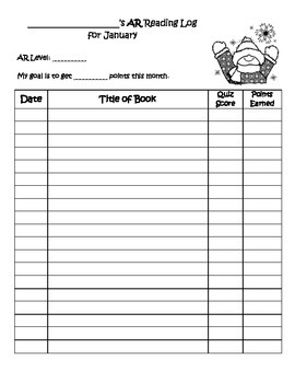 Accelerated Reader Monthly Logs