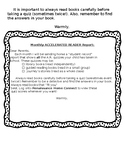 Accelerated Reader Monthly Parent Note