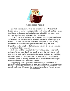 Accelerated Reader Program Introduction Letter