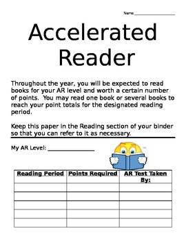 Accelerated Reader Student Sheet
