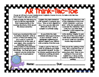 Accelerated Reader Think-Tac-Toe Choice Board (Grades 4-5)