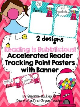 "Accelerated Reader Tracking Point Posters with Banner ""Reading is Bubblicious"""