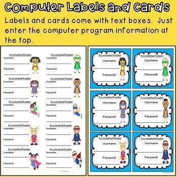 Computer Login Labels and Cards (Superhero Theme)
