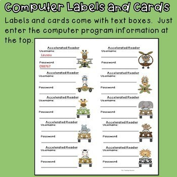 Computer Login Labels and Cards (Jungle Theme)
