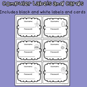 Computer Login Labels and Cards (Ocean Theme)
