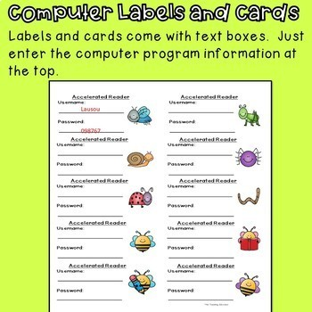 Computer Username and Password Cards (editable) bee theme