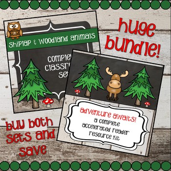 Accelerated Reader and Classroom Decor - Shiplap and Woodland Animals BUNDLE!