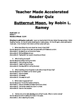 Accelerated Reader quiz for Butternut Moon by Robin L. Ramey