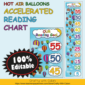 Accelerated Reading Clip Chart in Hot Air Balloons Theme - 100% Editble