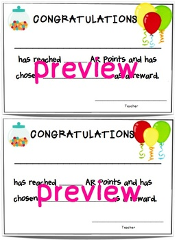 Accelerated Reading Points Certificate