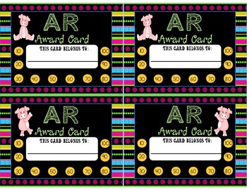 Accelerated Reading Points Punch Cards Piggies Theme
