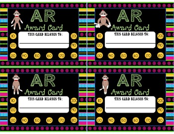 Accelerated Reading Points Punch Cards Sock Monkey Theme Set One