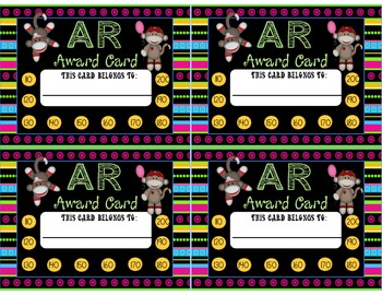 Accelerated Reading Points Punch Cards Sock Monkey Theme Set Two