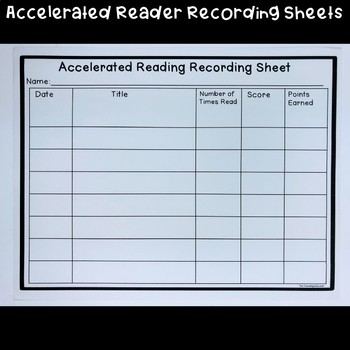 Accelerated Reader Recording Sheet Freebie