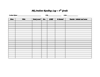 Accelerated Reading Student Log
