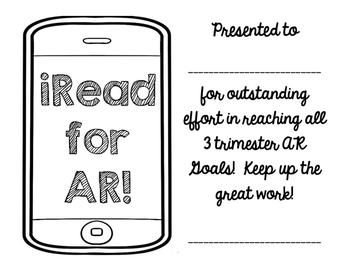 Accelerated Reader: sticker chart, trimester awards, final award