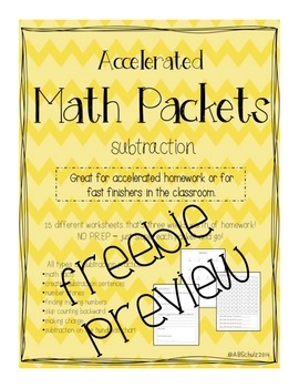 Accelerated Subtraction Packet SAMPLE FREEBIE