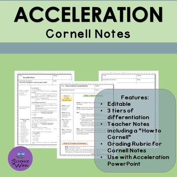 Acceleration Cornell Notes- Differentiated