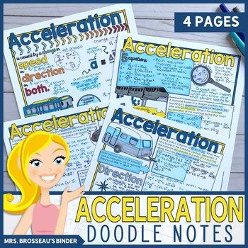 Acceleration Doodle Notes Bundle for Physics | 5 Equations of Kinematics