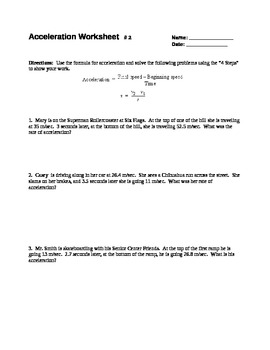 Acceleration Formula Worksheets - Physical Science by MS Science Spot