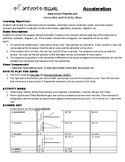 Acceleration Game Puzzle with Worksheet