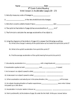 Acceleration Guided Reading worksheet