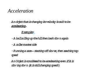 Acceleration Powerpoint for Intro to Physics