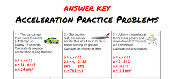 acceleration formula problems by mr fry s physical science tpt