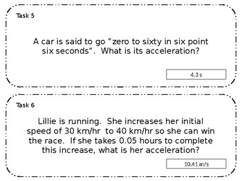 Editable Acceleration Task Card Circuit Practice