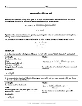 Worksheets On Speed Velocity And Acceleration