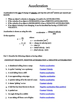 Acceleration Worksheet with solutions