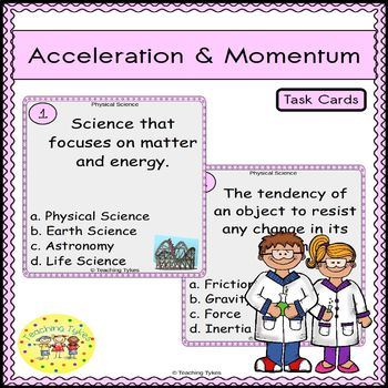 Acceleration and Momentum Task Cards