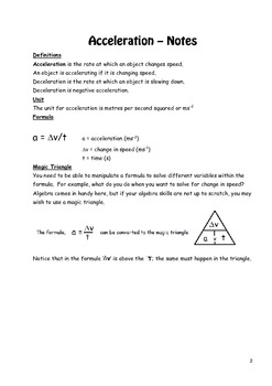 Physics: Acceleration Workbook with Notes and Questions
