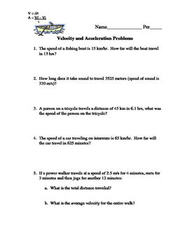 Acceleration and Velocity Word Problems