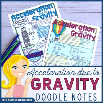 Acceleration due to Gravity, Kinematics Doodle Notes Bundle for Physics