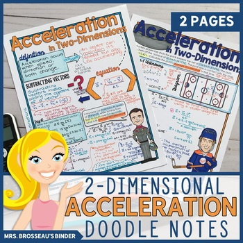 Acceleration in 2-Dimensions | Kinematics Doodle Notes Bundle for Physics