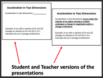 Acceleration in One and Two Dimensions - Physics PowerPoint Lesson & Notes