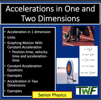 Acceleration in One and Two Dimensions - Physics PowerPoin