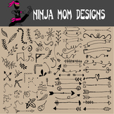 Accent Flourish & Swirl Clip Art in Black and White- 144 Images