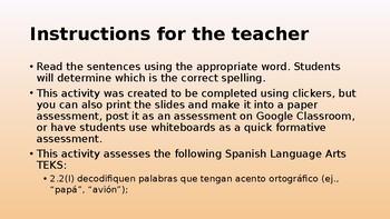 Accent Marks Assessment / Evaluación de Acentos Ortográficos