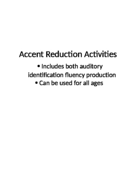 Accent Reduction Activities