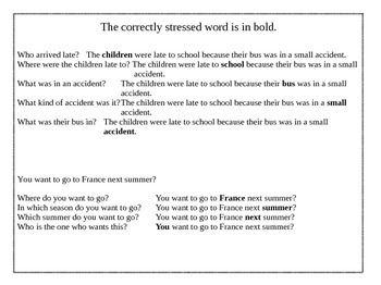 Accent modification activities - changing sentence stress